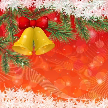 Christmas holiday design, gold bells, pine branch, stars and snowflakes Vector