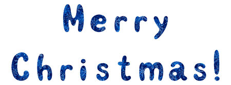 superscription: Lettering holiday festive greeting Merry Christmas, words with a blue background with snowflakes. Eps10, contains transparencies. Vector Illustration