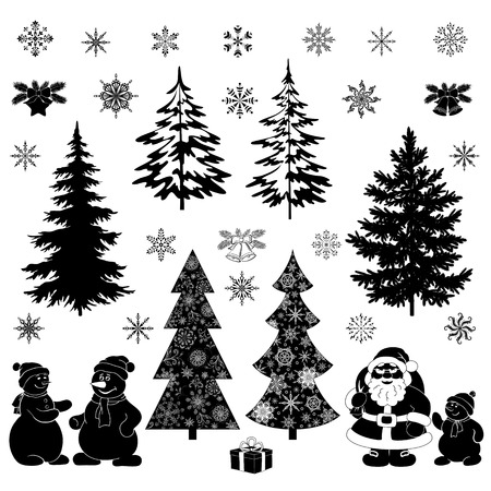 Christmas cartoon, set black silhouettes on white background, Santa Claus, fir trees, snowflakes, snowman and various holiday objects and symbols. Vector