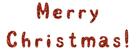 superscription: Lettering holiday festive greeting Merry Christmas, words with a red and yellow background with snowflakes and stars. Eps10, contains transparencies. Vector. Illustration