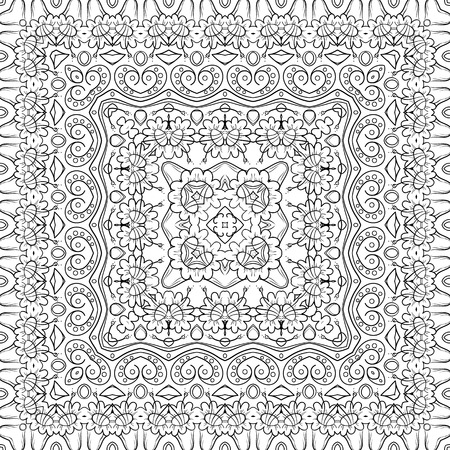 Seamless floral pattern, black symbolical contours isolated on white background. Vector Vector