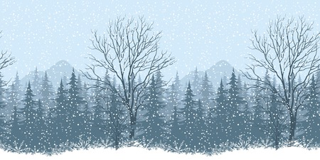Seamless horizontal winter mountain landscape with trees and snow, silhouettes. Eps10, contains transparencies. Vector Illustration