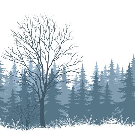 Winter bos landschap met bomen en sneeuwvlokken silhouetten. Eps10, bevat transparanten. Vector