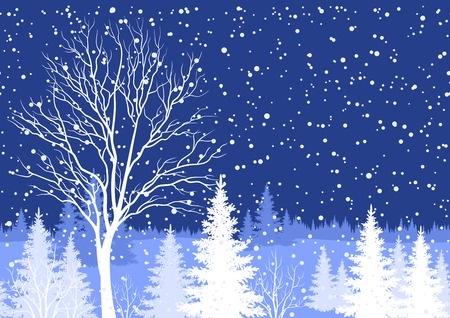 Seamless horizontal background, winter Christmas holiday woodland night landscape with trees and snowflakes white silhouettes. Vector