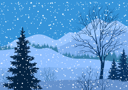 Winter mountain Christmas landscape with fir trees silhouette and snowflakes. Vector