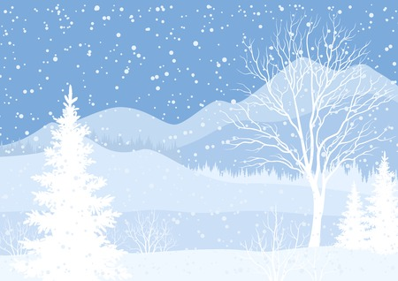 Winter mountain Christmas landscape with fir trees and snow, white and blue silhouettes. Vector Vector