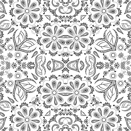 flowery: Seamless floral pattern, black symbolical contours isolated on white background. Vector
