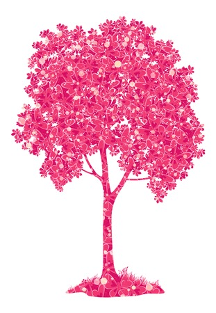 bucolical: Chestnut pink tree with a pattern of leaves and butterflies and grass, symbol of spring, isolated on a white background. transparencies. Vector
