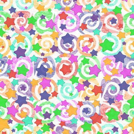 transparencies: Seamless abstract pattern, colorful stars and spirals on white background. Eps10, contains transparencies. Vector