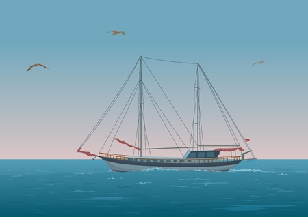 mew: Sailing ship with red sails floating in the morning sea, the birds fly in the sky. Eps10, contains transparencies. Vector