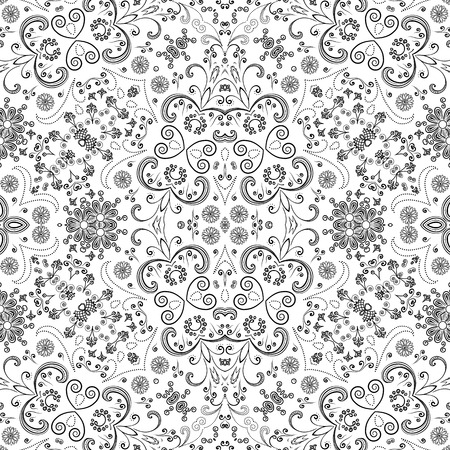 contours: Seamless Floral Pattern, Black Symbolical Contours Isolated on White Background