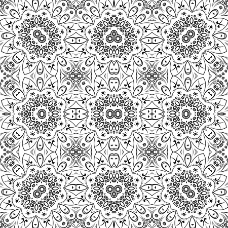 symbolical: Seamless Floral Pattern, Black Symbolical Contours Isolated on White Background.