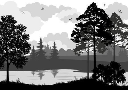 jezior: Krajobraz, drzewa, rzeki i ptaki, czarny i szary kontur sylwetki na białym tle. Wektor