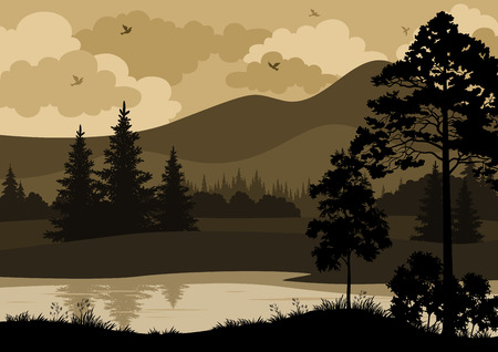 Landscape with Trees, River, Mountains and Birds Silhouettes. Vector