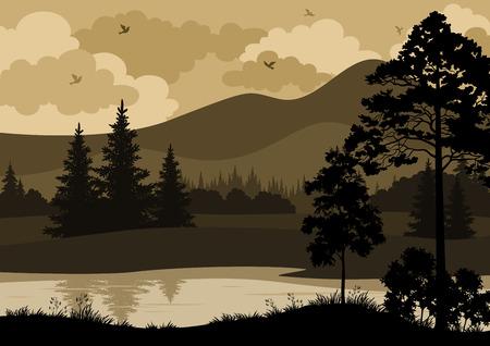arbol de pino: Paisaje con �rboles, r�os, monta�as y aves siluetas. Vector