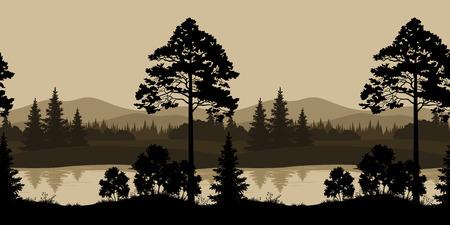 Naadloos Horizontaal Nacht Landschap, Bomen, Rivier en Bergen Silhouetten. Vector