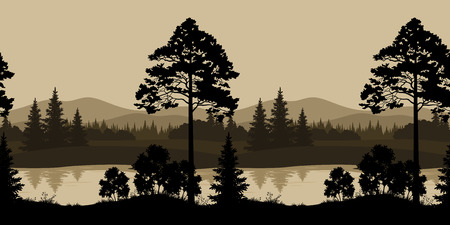 Seamless Horizontal Night Landscape, Trees, River and Mountains Silhouettes. Vector