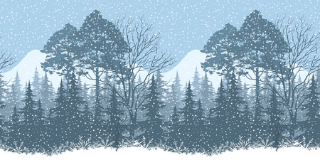 x mas background: Seamless Horizontal Winter Christmas Woodland Landscape with Snowflakes Silhouettes. Eps10, Contains Transparencies. Vector