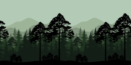 siberia: Seamless Horizontal Landscape, Evening Forest with Spruce Trees Silhouettes and Mountains. Vector