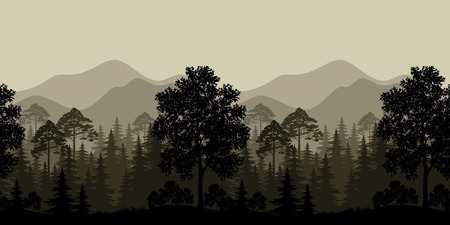 Seamless Horizontal Landscape, Evening Forest with Trees Silhouettes and Mountains. Vector 일러스트