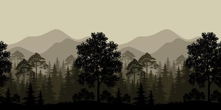 Naadloze Horizontaal Landschap, Avond Bos met Bomen silhouetten en Bergen. Vector Stock Illustratie