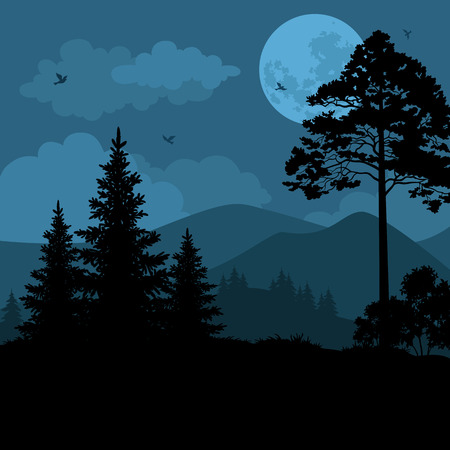 Night Mountain Landscape, Trees, Moon and Birds. Element of this Image Furnished by NASA, WWW.Visibleearth.Nasa.Gov. Vector