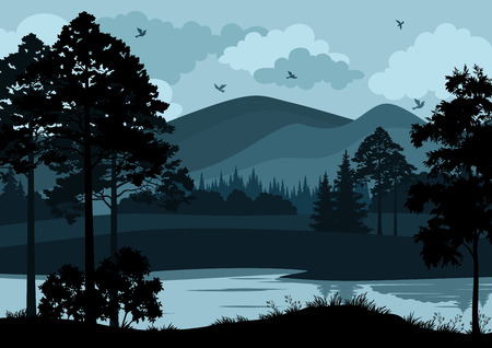 Night Landscape, Mountain Lake, Trees and Cloudy Sky with Birds. Vector Ilustração