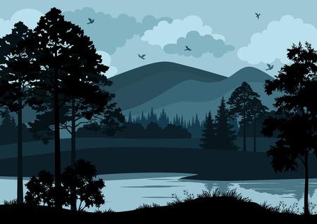 Paesaggio notturno, Lago di montagna, alberi e cielo nuvoloso con uccelli. Vettore