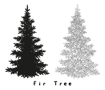Kerstmis Spruce Fir Tree Black Silhouette, Contouren en opschriften die op Witte Achtergrond. Vector