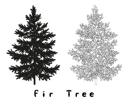 Noël Spruce Sapin Noir Silhouette, Contours et inscriptions isolé sur fond blanc. Vecteur