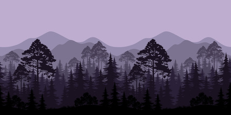 cutout: Seamless Horizontal Landscape, Evening Forest with Spruce Trees Silhouettes and Mountains. Vector
