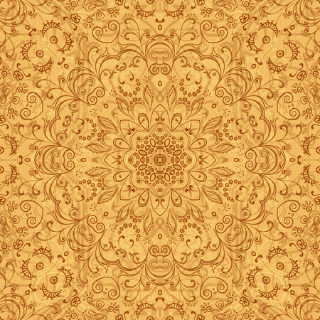 symbolical: Abstract Floral Seamless Pattern, Symbolical Outline Flowers and Curves. Eps10, Contains Transparencies. Vector