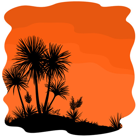 yucca: Tropical Palm Trees and Yucca Plants Black Silhouettes on Orange Background. Vector