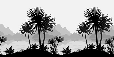 cutout: Exotic horizontal seamless landscape, palm trees, plants, sea and mountains black and grey silhouettes. Vector Illustration