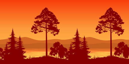 pine tree silhouette: Seamless Horizontal Landscape, Pine Trees and Bushes on the Bank of a Mountain Lake, Silhouettes. Vector