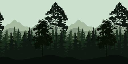 jungle foliage: Seamless Horizontal Night Forest Landscape, Trees and Mountains Silhouettes. Vector Illustration