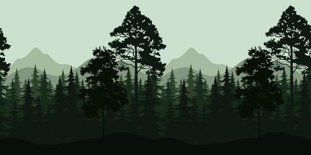 coniferous forest: Seamless Horizontal Noche Paisaje Bosque, árboles y montañas Siluetas. Vector