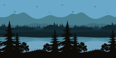 lakes and rivers: Seamless Horizontal Night Forest Landscape, Trees on the Shore of a Mountain Lake and Birds in the Sky, Black and Blue Silhouettes. Vector