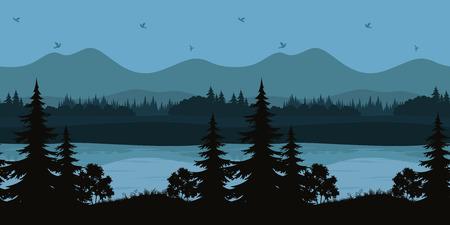 Senza soluzione di continuità orizzontale Notte Forest Landscape, alberi sulla riva di un lago di montagna e gli uccelli nel cielo, nero e blu Sagome. Vettore