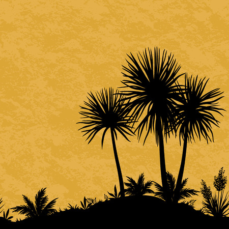 carribean: Exotic Horizontal Seamless Landscape, Black Silhouettes of Palm Trees, Tropical Plants and Flowers on Abstract Grunge Background. Vector Illustration