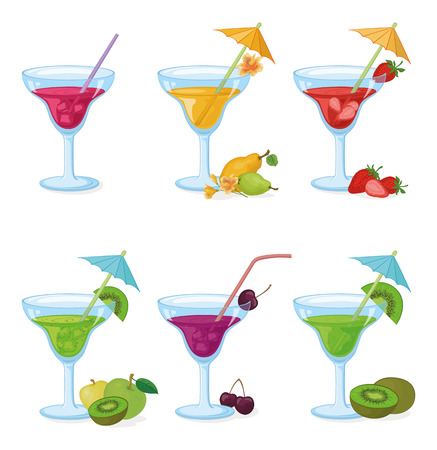 tipple: Set Vases and Glass with Drinks, Juice, Fruits and Berries. Eps10, Contains Transparencies. Vector