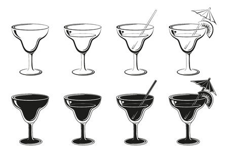 bocal: Glasses Set, Empty, with Drink, Kiwifruit and Straw Black Contours and Silhouettes Symbolical Pictogram Isolated on White Background. Vector