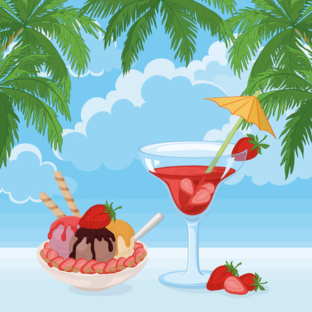 blue berry: Food and Drink, Cup of Ice Cream, Almond Nuts and Strawberries and a Glass with Berry Cocktail on The Background of Blue Sky with Clouds and Palm Leaves. Vector Illustration
