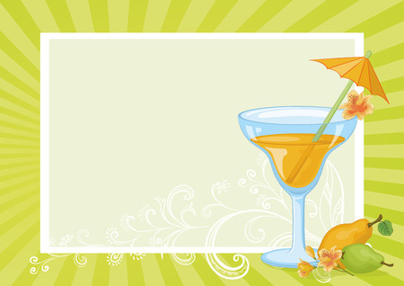 tipple: Food and Drink, Glass with Juice, Straw with Umbrella, Pears and Flowers Alstroemeria on the Background with Abstract Floral Pattern and Rays. Eps10, Contains Transparencies. Vector