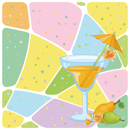 tipple: Food and Drink, Glass with Juice, Straw with Umbrella, Pears and Flowers Alstroemeria on the Background with Abstract Pattern.