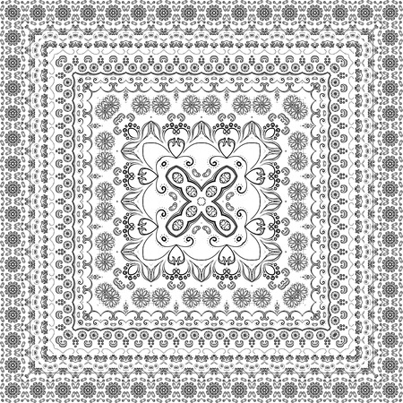 Seamless Symbolical Floral Pattern, Black Contours Isolated on White Background. Vector Vector