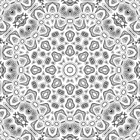 konturen: Abstract Seamless Pattern, Black Contours Isolated on White Background. Vector