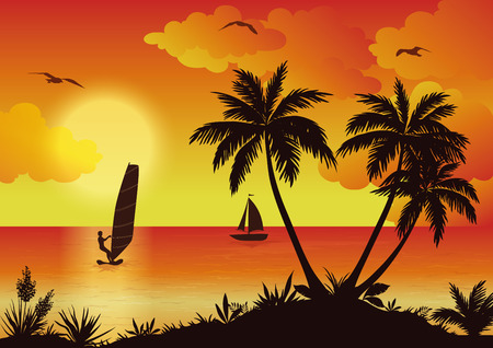 cutout: Tropical Landscape, Sunset Sea, Sportsman Surfer, Palm Trees and Flowers, Ship and Birds Gulls in the Sky with Clouds. Eps10, Contains Transparencies. Vector Illustration