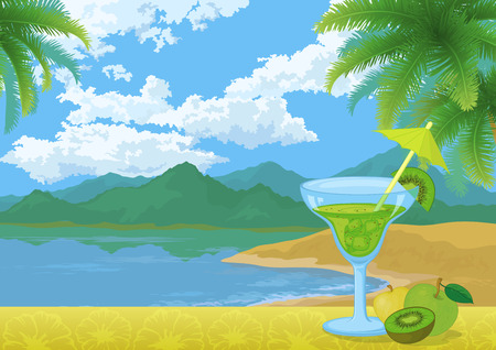 Food and Drink, Glass with Cocktail, Drinking Straw, Kiwi Fruit and Apples on the Background of Sea Bay, Mountains, Blue Sky with Clouds and Palm Trees Leaves. Eps10, Contains Transparencies. Vector