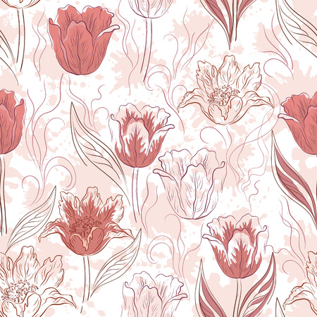 blots: Seamless Floral Background, Flowers Tulips and Abstract Pattern, Blots. Vector Illustration
